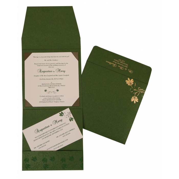 GREEN SHIMMERY SCREEN PRINTED WEDDING INVITATION : C-803B - 123WeddingCards