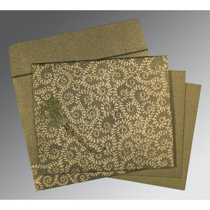 Green Shimmery Screen Printed Wedding Invitations : IN-8217H - 123WeddingCards