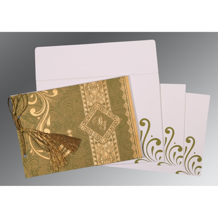 Green Shimmery Screen Printed Wedding Card : S-8223I - 123WeddingCards