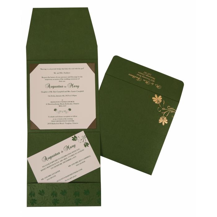 Green Shimmery Screen Printed Wedding Invitation : W-803B - 123WeddingCards