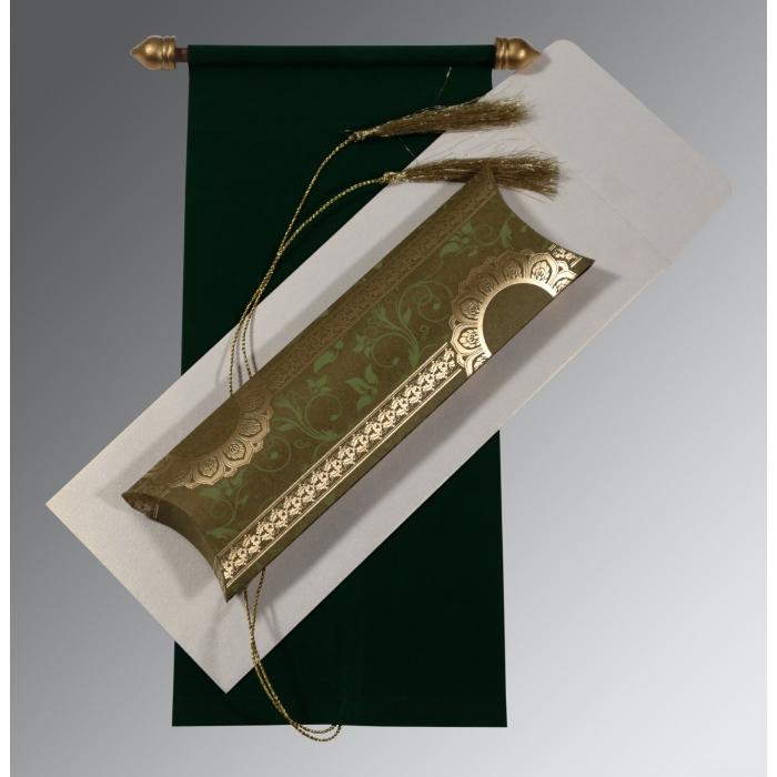Green Velvet Wedding Card : SC-5010F - 123WeddingCards