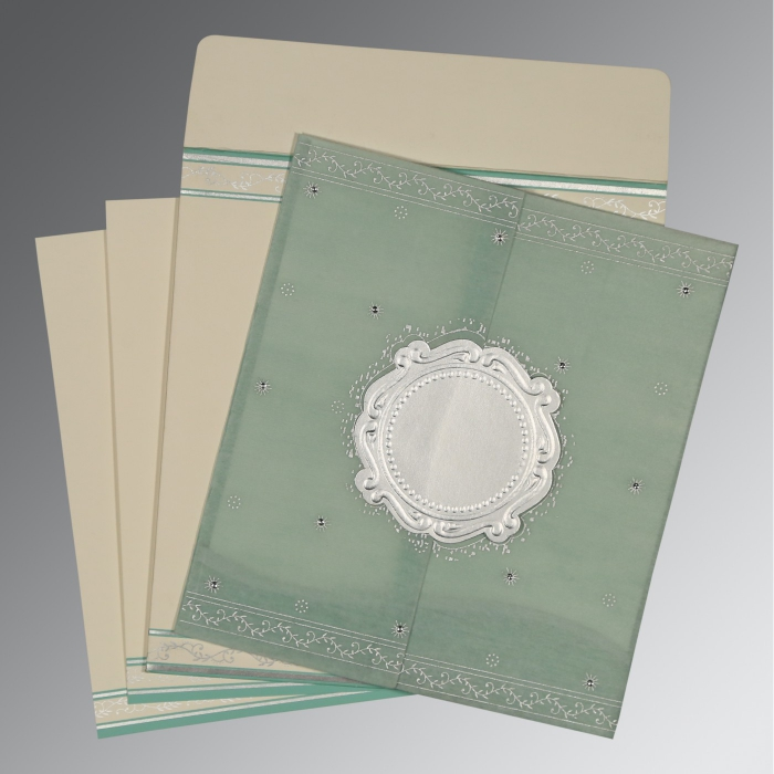 Green Wooly Embossed Wedding Invitation : D-8202M - 123WeddingCards