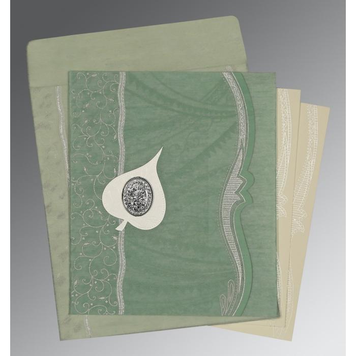 Green Wooly Embossed Wedding Card : I-8210E - 123WeddingCards