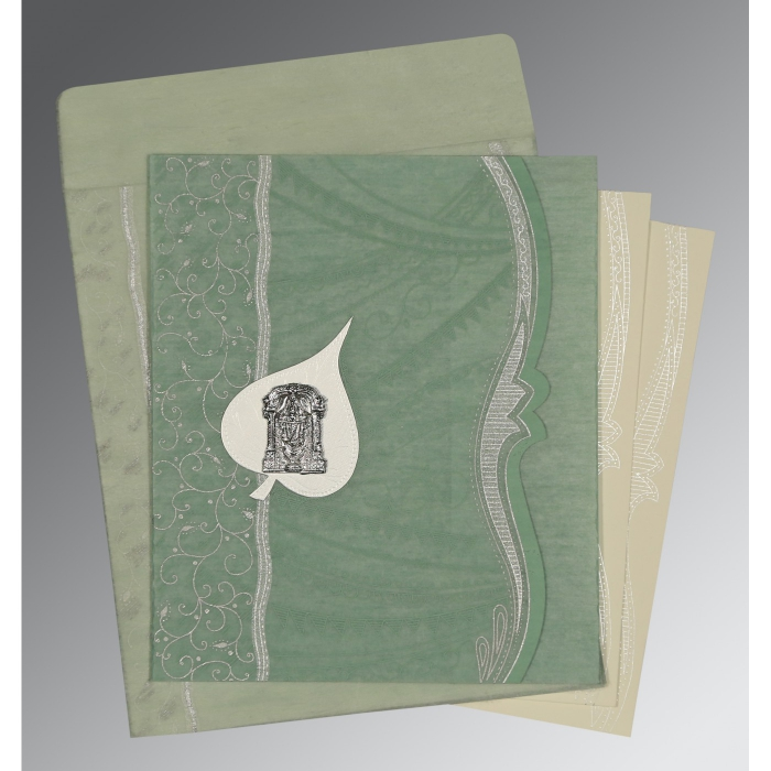 Green Wooly Embossed Wedding Card : SO-8210E - 123WeddingCards