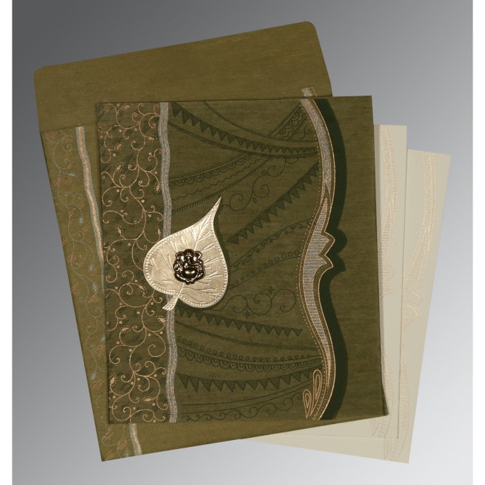 Green Wooly Embossed Wedding Card : W-8210I - 123WeddingCards