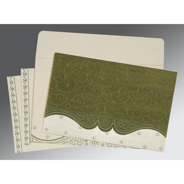 Green Wooly Embossed Wedding Invitations : W-8221D - 123WeddingCards