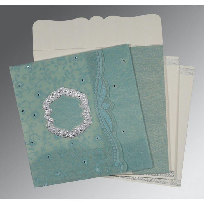 SEA GREEN SHIMMERY FLORAL THEMED - EMBOSSED WEDDING CARD : D-8209F - 123WeddingCards