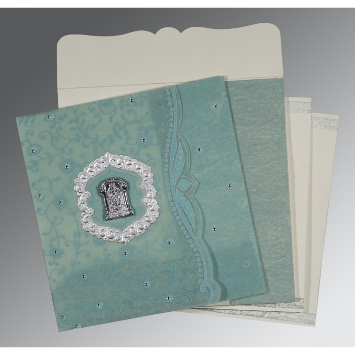 Green Wooly Floral Themed - Embossed Wedding Card : CSO-8209F - 123WeddingCards