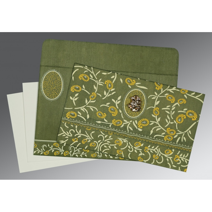 Green Wooly Floral Themed - Glitter Wedding Invitations : C-8206D - 123WeddingCards