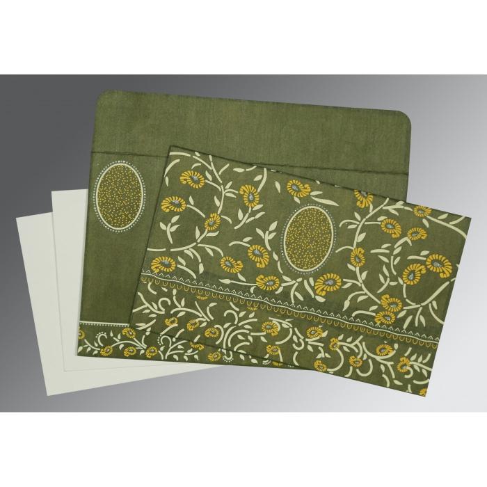 Green Wooly Floral Themed - Glitter Wedding Card : D-8206D - 123WeddingCards