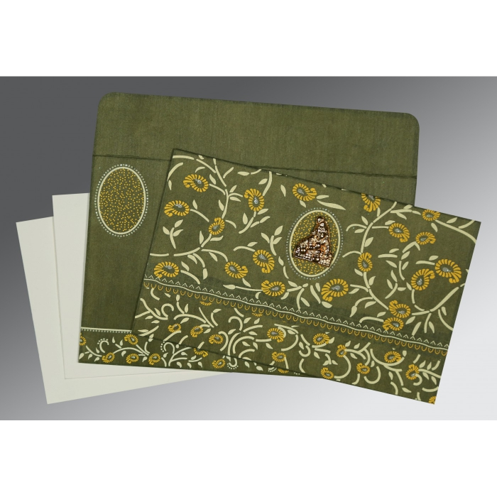 Green Wooly Floral Themed - Glitter Wedding Card : G-8206D - 123WeddingCards