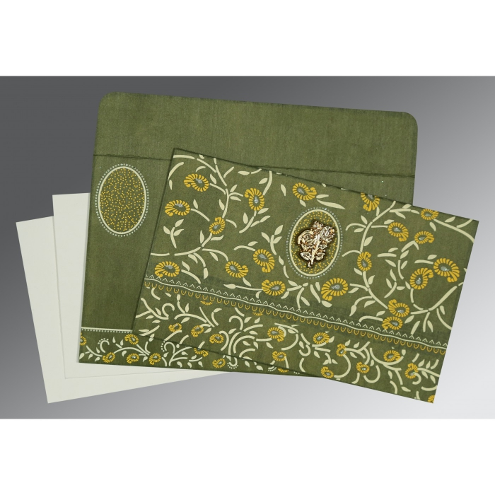 Green Wooly Floral Themed - Glitter Wedding Card : I-8206D - 123WeddingCards