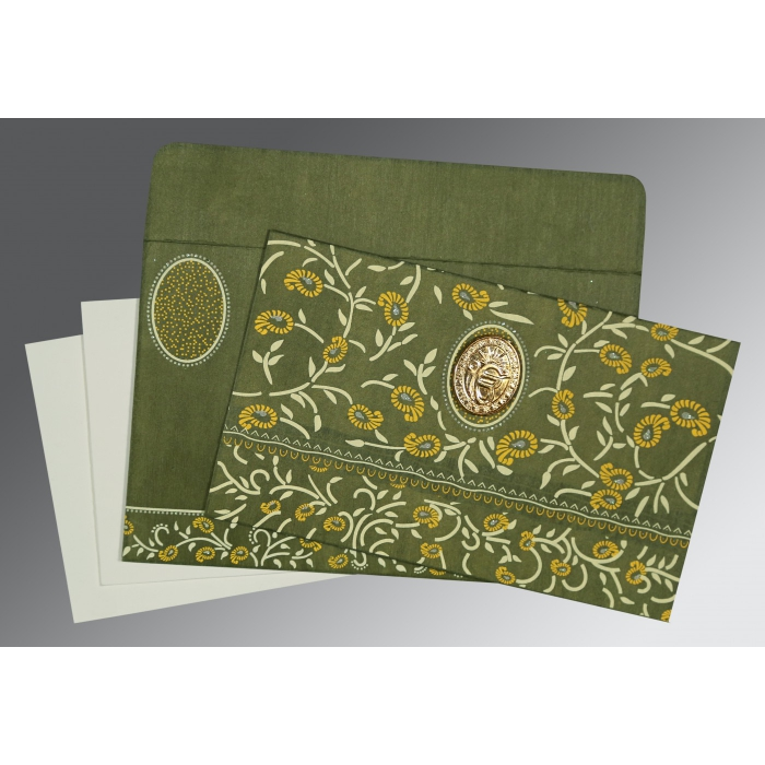 Green Wooly Floral Themed - Glitter Wedding Card : S-8206D - 123WeddingCards