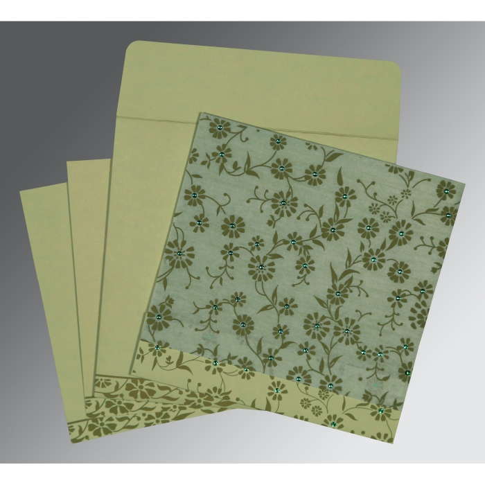 Green Wooly Floral Themed - Screen Printed Wedding Card : I-8222G - 123WeddingCards