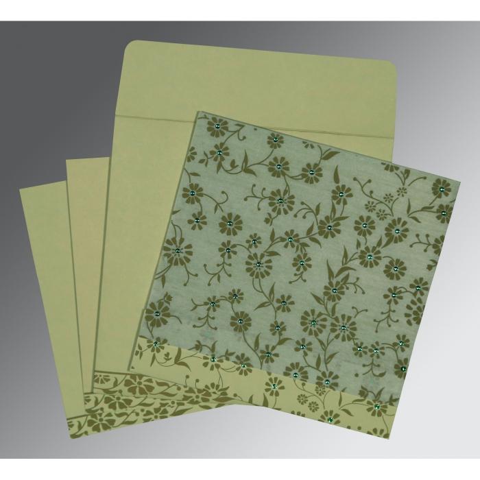 Green Wooly Floral Themed - Screen Printed Wedding Card : RU-8222G - 123WeddingCards