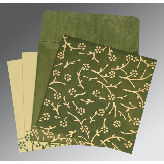Green Wooly Floral Themed - Screen Printed Wedding Invitation : SO-8216J - 123WeddingCards