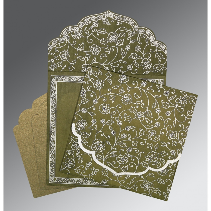 OLIVE GREEN WOOLY FLORAL THEMED - SCREEN PRINTED WEDDING INVITATION : W-8211M - 123WeddingCards