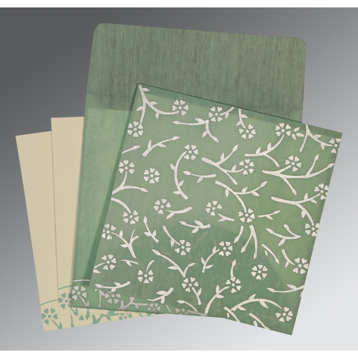 Green Wooly Floral Themed - Screen Printed Wedding Invitation : W-8216F - 123WeddingCards