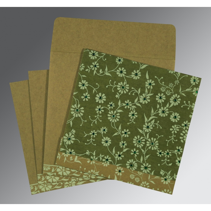 Green Wooly Floral Themed - Screen Printed Wedding Card : W-8222D - 123WeddingCards