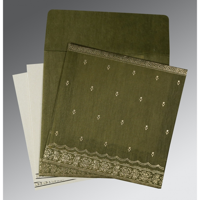 DARK OLIVE GREEN WOOLY FOIL STAMPED WEDDING CARD : C-8242O - 123WeddingCards