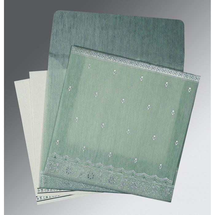Green Wooly Foil Stamped Wedding Card : G-8242K - 123WeddingCards