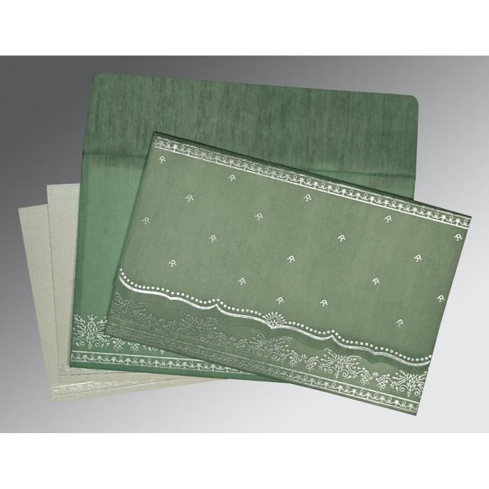 Green Wooly Foil Stamped Wedding Invitation : I-8241C - 123WeddingCards