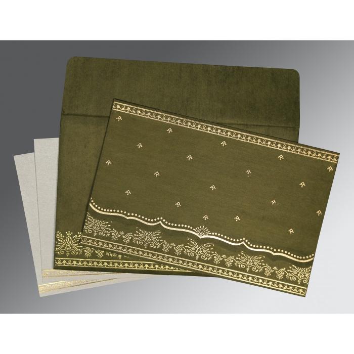 Green Wooly Foil Stamped Wedding Invitation : SO-8241L - 123WeddingCards