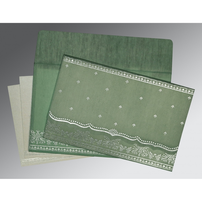 SAGE GREEN WOOLY FOIL STAMPED WEDDING INVITATION : W-8241C - 123WeddingCards