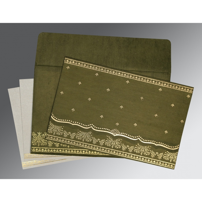 Green Wooly Foil Stamped Wedding Invitations : W-8241L - 123WeddingCards