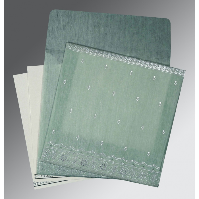 Green Wooly Foil Stamped Wedding Card : W-8242K - 123WeddingCards