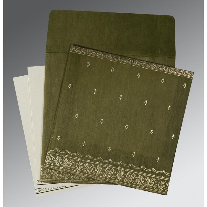 DARK OLIVE GREEN WOOLY FOIL STAMPED WEDDING CARD : W-8242O - 123WeddingCards