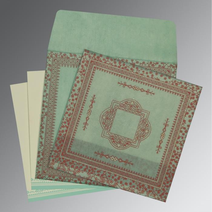 Green Wooly Glitter Wedding Invitations : D-8205N - 123WeddingCards