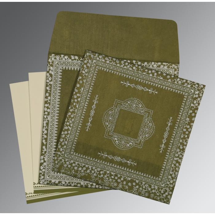 Green Wooly Glitter Wedding Invitations : D-8205Q - 123WeddingCards