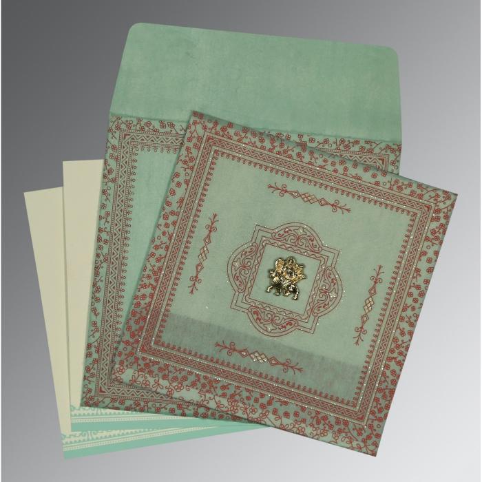 Green Wooly Glitter Wedding Card : G-8205N - 123WeddingCards