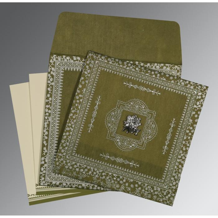 Green Wooly Glitter Wedding Card : G-8205Q - 123WeddingCards
