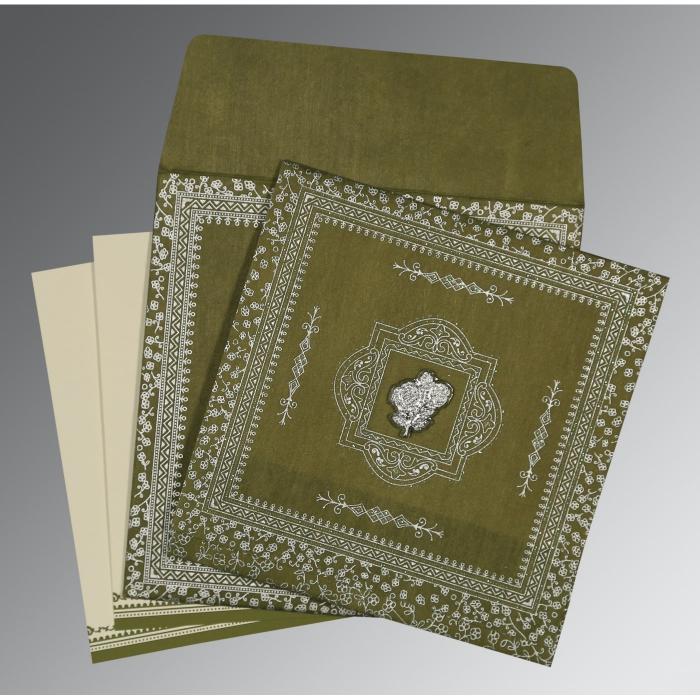 Green Wooly Glitter Wedding Card : I-8205Q - 123WeddingCards