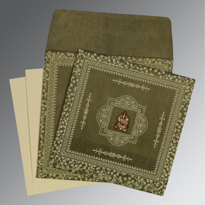 Green Wooly Glitter Wedding Card : IN-8205G - 123WeddingCards