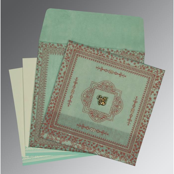 Green Wooly Glitter Wedding Card : RU-8205N - 123WeddingCards