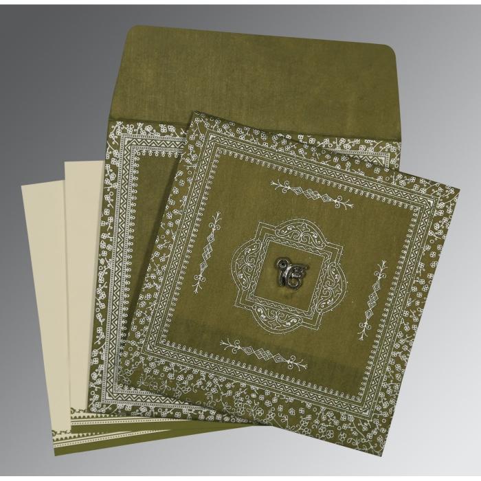 Green Wooly Glitter Wedding Card : RU-8205Q - 123WeddingCards
