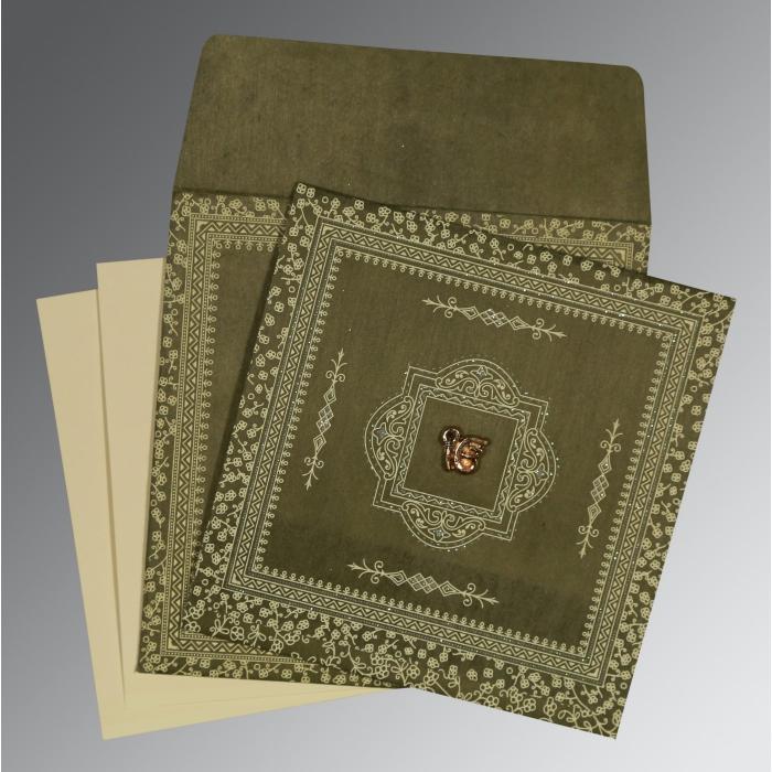 Green Wooly Glitter Wedding Card : S-8205G - 123WeddingCards