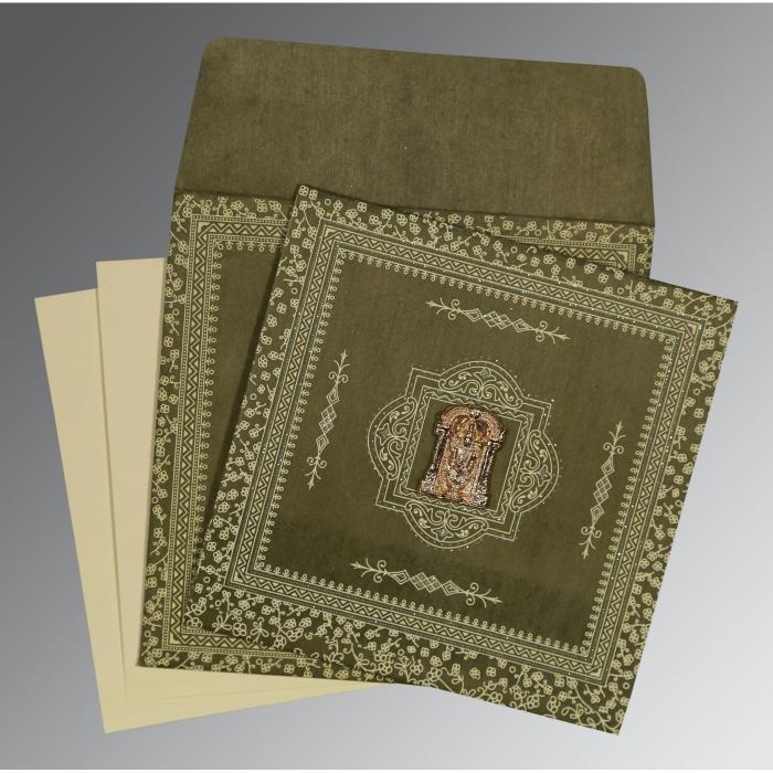 Green Wooly Glitter Wedding Card : SO-8205G - 123WeddingCards