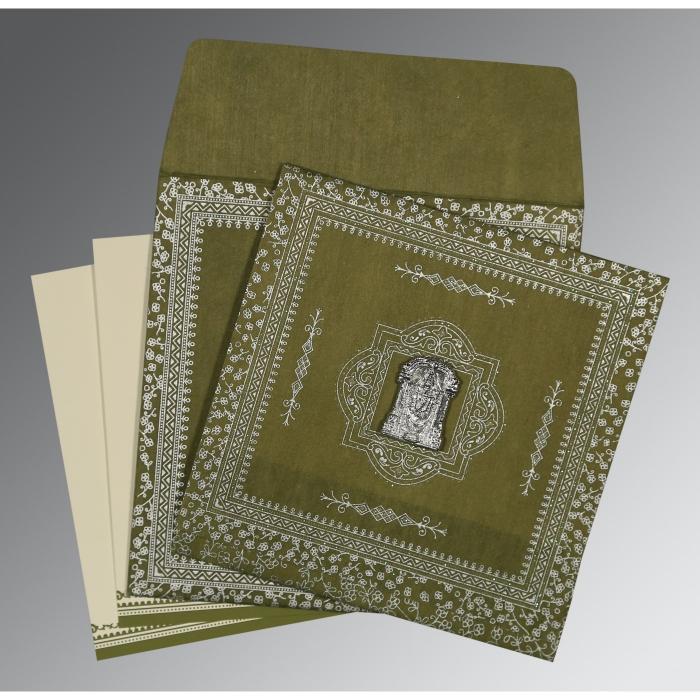 Green Wooly Glitter Wedding Card : SO-8205Q - 123WeddingCards