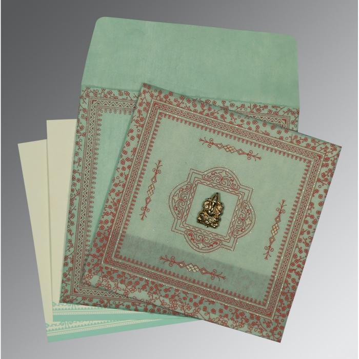 Green Wooly Glitter Wedding Invitations : W-8205N - 123WeddingCards
