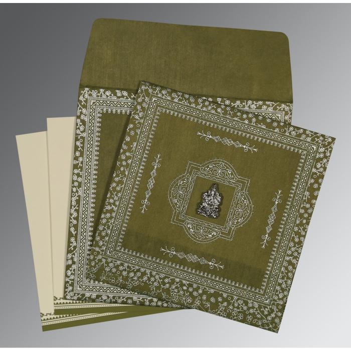 Green Wooly Glitter Wedding Card : W-8205Q - 123WeddingCards