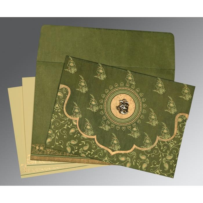 Green Wooly Screen Printed Wedding Invitation : C-8207H - 123WeddingCards