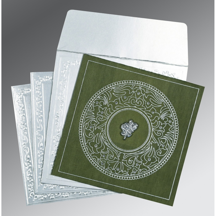 DARK GREEN WOOLY SCREEN PRINTED WEDDING CARD : C-8214L - 123WeddingCards