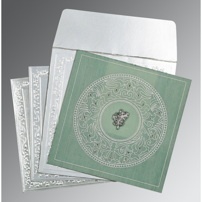 SAGE GREEN WOOLY SCREEN PRINTED WEDDING CARD : C-8214P - 123WeddingCards
