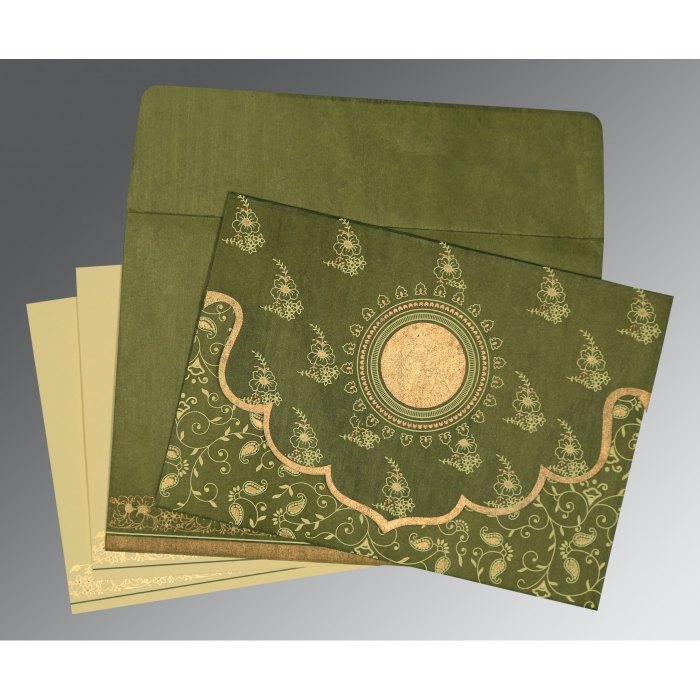 Green Wooly Screen Printed Wedding Invitation : D-8207H - 123WeddingCards