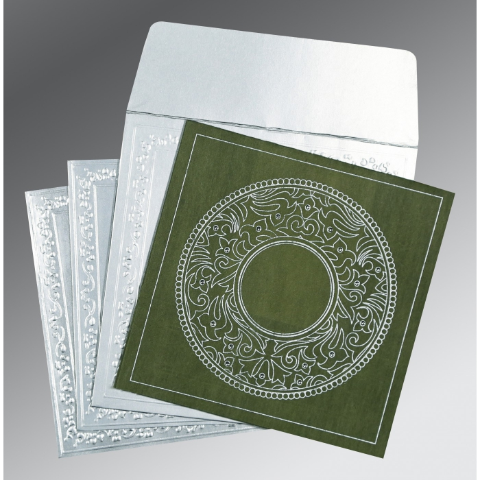 DARK GREEN WOOLY SCREEN PRINTED WEDDING CARD : D-8214L - 123WeddingCards