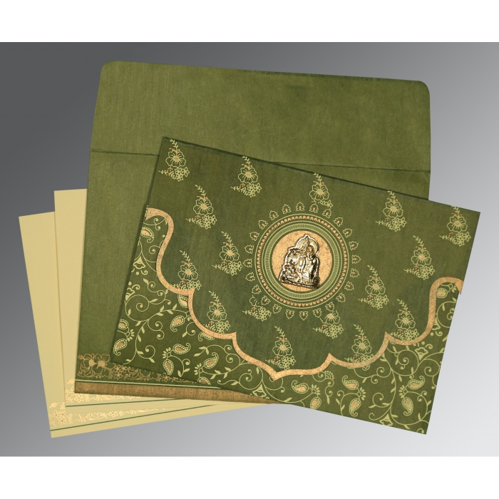 Green Wooly Screen Printed Wedding Invitations : G-8207H - 123WeddingCards